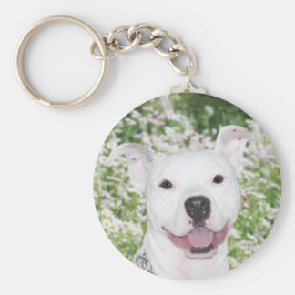 Happy White Pitbull Keychain