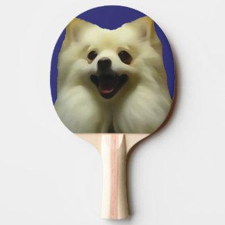 Happy White Pomeranian Ping Pong Paddle