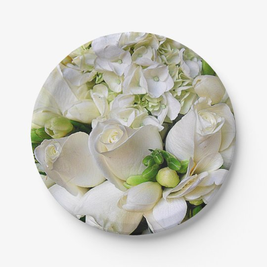 Happy,White Roses_ 7 Inch Paper Plate