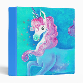 Happy White Unicorn Binder