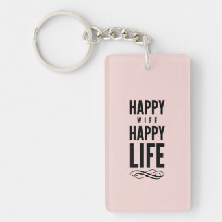 Happy Wife Funny Marriage Quote Pink Single-Sided Rectangular Acrylic Keychain