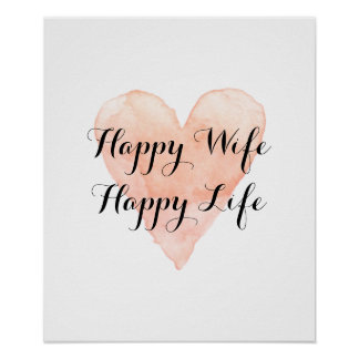 Happy wife happy life cute watercolor heart poster