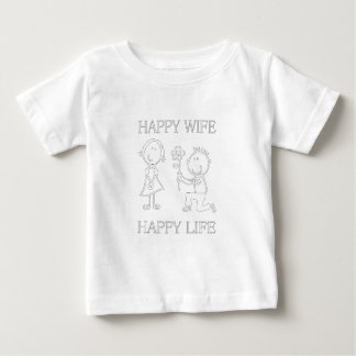 Happy Wife Happy Life Great Gift For Funny Husband Baby T-Shirt