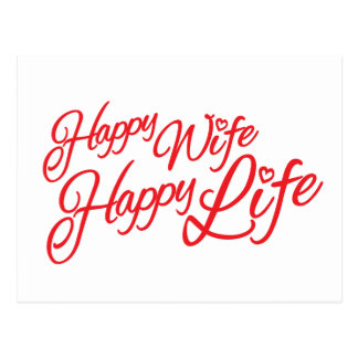 Happy wife happy life quote postcard