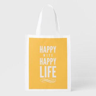 Happy Wife Happy Life Yellow Grocery Bag