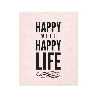 Happy Wife Typographic Quote Pink Canvas Prints