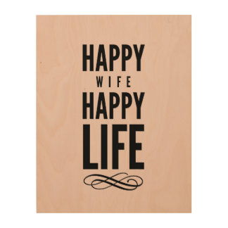 Happy Wife Typographic Quote Pink Wood Canvases