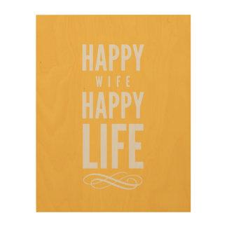 Happy Wife Typographic Quote Yellow Wood Canvas