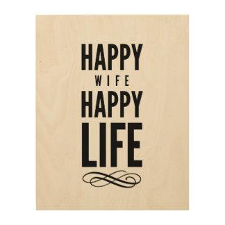 Happy Wife Typography Quotes White Wood Print