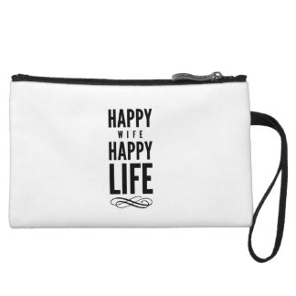 Happy Wife Wise Saying White Wristlets
