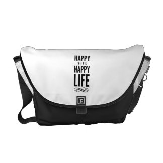 Happy Wife Wise Saying White Courier Bag
