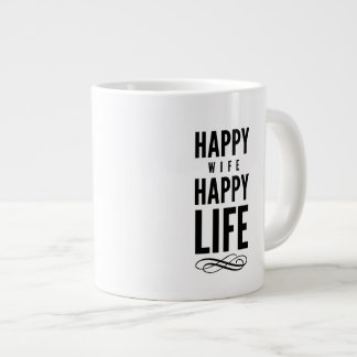 Happy Wife Wise Words Quote White Large Coffee Mug