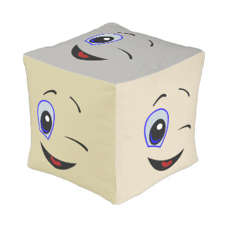 Happy Winking Face Design Cube Pouf