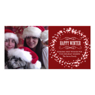 "Happy Winter Family  Christmas  8"" x 4"" Photo Card"