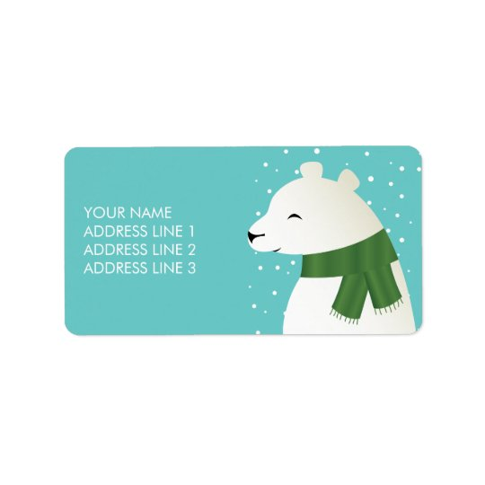 Happy Winter Polar Bear Label