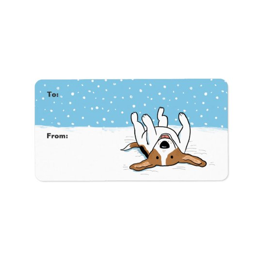 Happy Winter Snow Beagle - Fun Holiday Labels