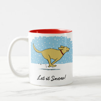 Happy Winter Snow Dog Holiday with Custom Text Two-Tone Coffee Mug