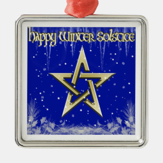 Happy Winter Solstice Metal Ornament