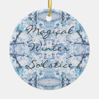 Happy Winter Solstice Yule Snow Ceramic Ornament