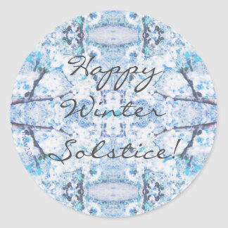 Happy Winter Solstice Yule Snow Classic Round Sticker