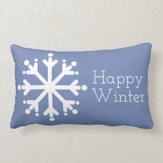 Happy Winter White Snowflakes on Blue Grey Lumbar Pillow