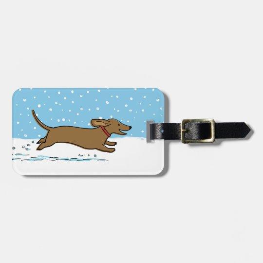 Happy Winter Wiener Dog - Dachshund Holiday Luggage Tag