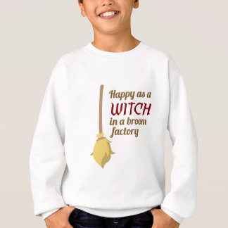 Happy Witch Broom Factory Halloween Design Sweatshirt
