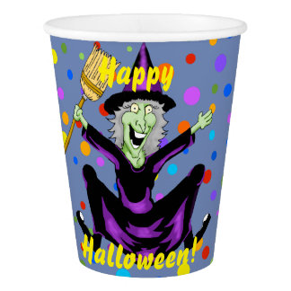 Happy Witch Halloween Paper Cups