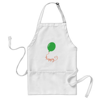 Happy with a green balloon aprons
