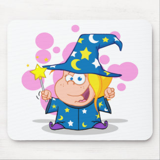 Happy Wizard Girl Waving With Magic Wand Mouse Pad