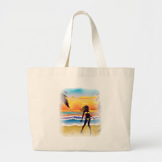 Happy woman on beach large tote bag