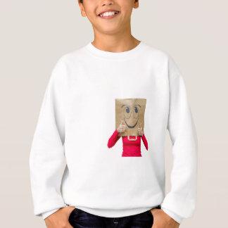 Happy woman with thumbs up sweatshirt