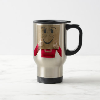 Happy woman with thumbs up travel mug