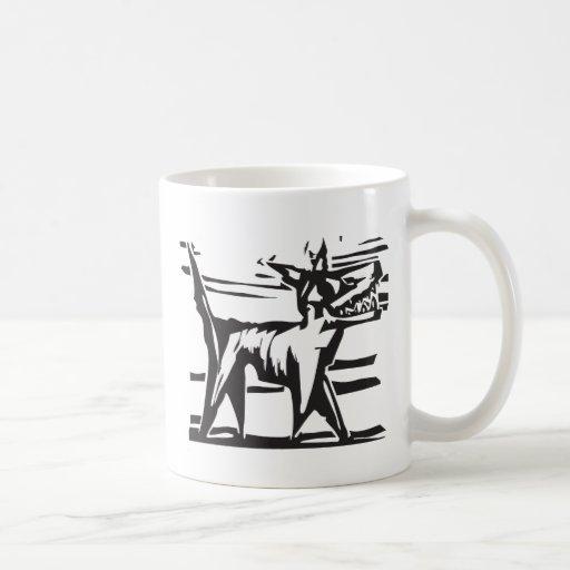 Happy woodcut Dog 2 Coffee Mugs