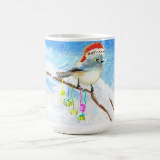 Happy x-mas cartoon bird card classic white coffee mug