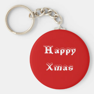 Happy Xmas. Red and White. Custom Keychain