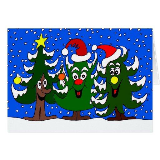 Happy Xmas Trees Christmas Holidays Card