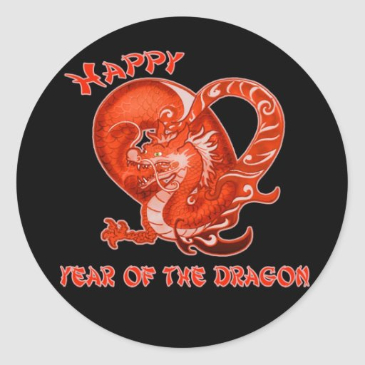 Happy Year of the Dragon with Orange Dragon Stickers