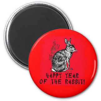 Happy Year of the Rabbit with Rabbit Illustration 2 Inch Round Magnet