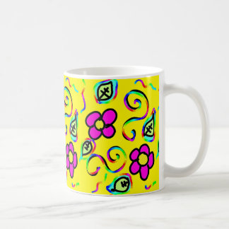 happy yellow color flower coffee mug