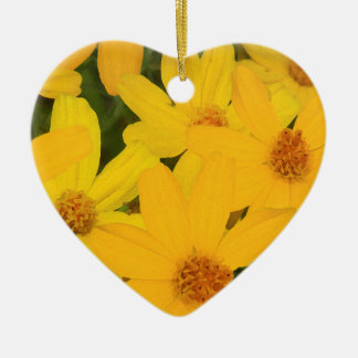 HAPPY YELLOW DAISIES CERAMIC HEART ORNAMENT