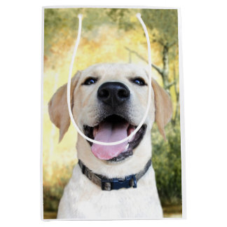 Happy Yellow lab puppy Medium Gift Bag