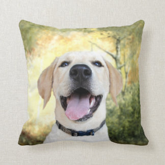 Happy Yellow Lab Throw Pillow