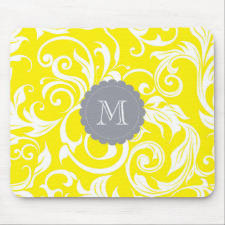 Happy Yellow Monogram Floral Wallpaper Pattern Mouse Pad