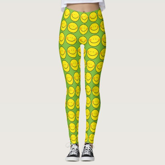 happy yellow smile leggings
