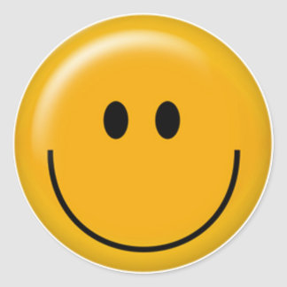 Happy yellow smiley face classic round sticker