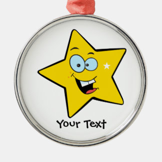Happy Yellow Star Christmas Ornament
