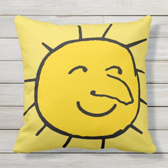 Happy Yellow Sun Face Design Throw Pillow