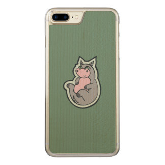 Happy Young Gray Hippo Teal Drawing Design Carved iPhone 7 Plus Case
