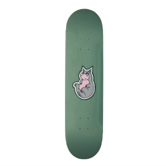 Happy Young Gray Hippo Teal Drawing Design Custom Skateboard